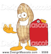 Illustration of a Peanut Mascot Holding a Red Tag by Toons4Biz