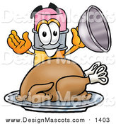Illustration of a Pencil Mascot Serving a Thanksgiving Turkey by Toons4Biz