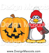 Illustration of a Penguin Mascot and a Halloween Pumpkin by Toons4Biz
