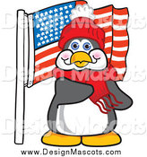 Illustration of a Penguin Mascot Pledging Allegiance to an American Flag by Toons4Biz