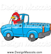 Illustration of a Penguin Mascot Waving and Driving a Blue Pickup Truck by Toons4Biz