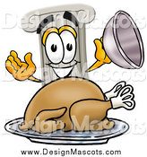Illustration of a Pillar Mascot Serving a Thanksgiving Turkey by Toons4Biz