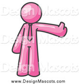 March 8th, 2014: Illustration of a Pink Business Man Holding a Thumb up by Leo Blanchette