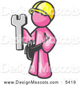 Illustration of a Pink Construction Worker Man in a Hardhat, Holding a Wrench Clipart Illustration by Leo Blanchette