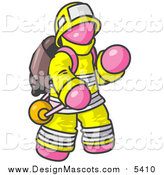 Illustration of a Pink Fireman in a Uniform, Fighting a Fire by Leo Blanchette