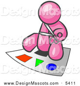Illustration of a Pink Man Cutting out Colorful Shapes by Leo Blanchette