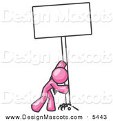 Illustration of a Pink Man Pushing a Blank Sign Upright by Leo Blanchette