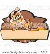 September 10th, 2015: Illustration of a Pizza Mascot Resting on a Blank Tan and Brown Label by Toons4Biz