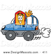 Illustration of a Price Tag Mascot Driving a Blue Car and Waving by Toons4Biz