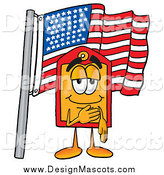 Illustration of a Price Tag Mascot Pledging Allegiance to an American Flag by Toons4Biz