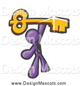 Illustration of a Purple Businessman Holding a Large Success Skeleton Key by Leo Blanchette