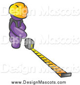 Illustration of a Purple Contractor Wearing a Hardhat, Kneeling and Measuring by Leo Blanchette