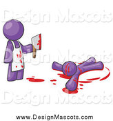 April 7th, 2015: Illustration of a Purple Killer Holding a Cleaver Knife over a Bloody Body by Leo Blanchette