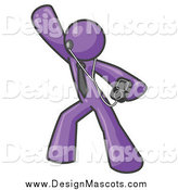 Illustration of a Purple Man Dancing with an MP3 Player by Leo Blanchette