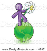 Illustration of a Purple Man on the Green Planet Earth and Holding a White Daisy, Symbolizing Organics and Going Green for a Healthy Environment by Leo Blanchette