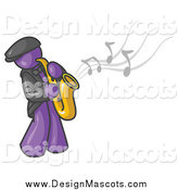 Illustration of a Purple Man Playing Jazz with a Saxophone by Leo Blanchette