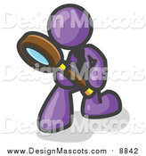 Illustration of a Purple Man Searching with a Magnifying Glass by Leo Blanchette