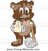 Illustration of a Recovering Bear Cub Mascot with a Sling, Cast and Crutch by Toons4Biz