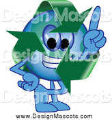 Illustration of a Recycle Earth Mascot Pointing Upwards by Toons4Biz