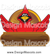 Illustration of a Red Cardinal Mascot over a Wood Plaque by Toons4Biz