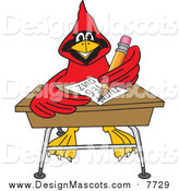 Illustration of a Red Cardinal School Mascot Doing Homework at a Desk by Toons4Biz