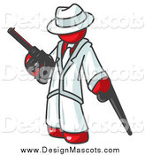 April 22nd, 2015: Illustration of a Red Gangster Carrying a Gun and Leaning on a Cane by Leo Blanchette