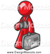 Illustration of a Red Male Tourist Carrying His Suitcase by Leo Blanchette