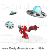 Illustration of a Red Man Fighting off UFO's by Leo Blanchette