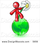 Illustration of a Red Man Standing on Planet Earth and Holding a White Daisy by Leo Blanchette