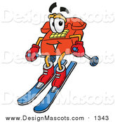 Illustration of a Red Telephone Mascot Skiing by Toons4Biz