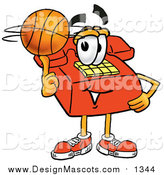 Illustration of a Red Telephone Mascot Spinning a Basketball on His Finger by Toons4Biz