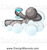 Illustration of a Relaxed Gray Man Drinking a Cocktail and Kicking Back on Cloud Nine by Leo Blanchette