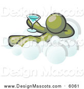 Illustration of a Relaxed Olive Green Man Drinking a Martini on Cloud Nine by Leo Blanchette