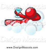 August 20th, 2014: Illustration of a Relaxed Red Man Drinking a Beverage and Kicking Back on Cloud Nine by Leo Blanchette