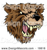 Illustration of a Roaring Aggressive Bear Mascot by AtStockIllustration