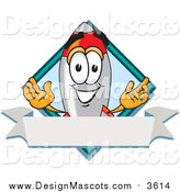 Illustration of a Rocket Mascot over a Blue Diamond and Blank Banner by Toons4Biz