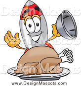 Illustration of a Rocket Mascot Serving a Thanksgiving Turkey by Toons4Biz