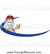 Illustration of a Rocket Mascot Waving over a Blue Dash by Toons4Biz