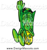 Illustration of a Rolled Money Mascot Plugging His Nose, Jumping into Water by Toons4Biz
