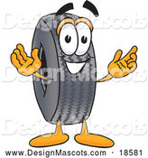 Illustration of a Rubber Tire Mascot Cartoon with Welcoming Open Arms by Toons4Biz
