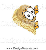 Illustration of a Scrub Brush Mascot Looking Around a Corner by Toons4Biz