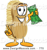 Illustration of a Scrub Brush Mascot Waving Cash in the Air by Toons4Biz