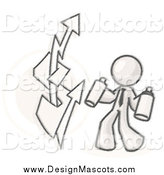 Illustration of a Sketched Business Man Spray Painting a Graffiti Dollar Sign on a Wall by Leo Blanchette