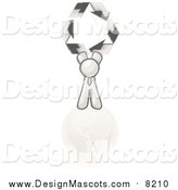 Illustration of a Sketched Design Mascot Man on Top of the Earth and Holding up Recycle Arrows by Leo Blanchette