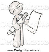 Illustration of a Sketched Mascot Man Architect Carrying Rolled Blue Prints and Plans by Leo Blanchette