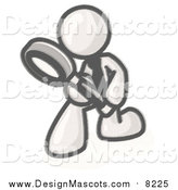 Illustration of a Sketched Mascot Man Bending over to Inspect Something Through a Magnifying Glass by Leo Blanchette