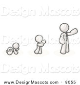 Illustration of a Sketched Mascot Man in His Growth Stages of Life, Starting out As a Crawling Baby in a Diaper, Then a Child and Then an Adult by Leo Blanchette