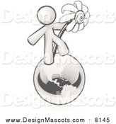 Illustration of a Sketched Mascot Man Standing on the Earth and Holding a Daisy by Leo Blanchette