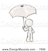 Illustration of a Sketched Mascot Woman Under an Umbrella by Leo Blanchette