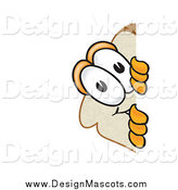 Illustration of a Slice of Bread Mascot Spying Around a Corner by Toons4Biz